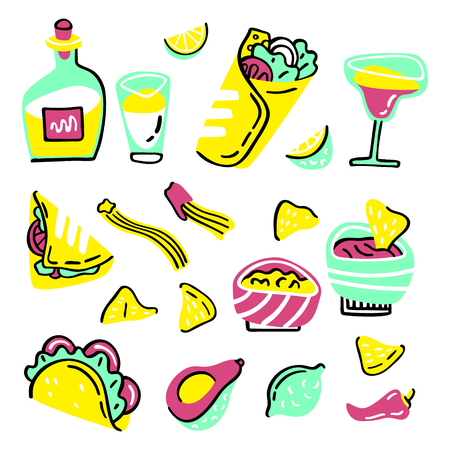 Mexican food set. Hand drawn style vector illustration