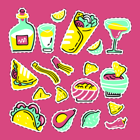 Mexican food set. Hand drawn style vector stickers collection