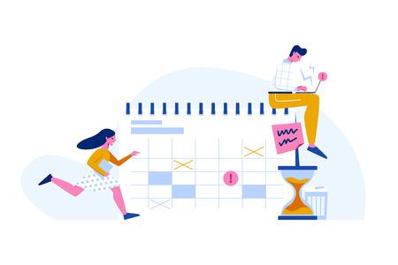 Zeitmanagement und Umgang mit Fristen Vektorkonzept. Kalender im flachen Stil, Laufende Frau und Mann, der mit Laptop arbeitet. Vektorgrafik