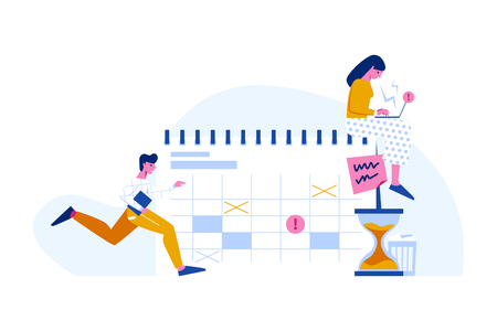 Time management and dealing with deadlines vector concept. Flat style calendar, man running and woman working with laptop. Ilustración de vector