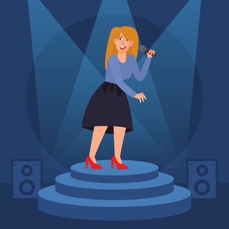Young woman singing on stage. Flat style vector illustration. Karaoke night