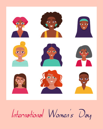 International Women's Day. Card, poster or banner with devierse group of women Illustration