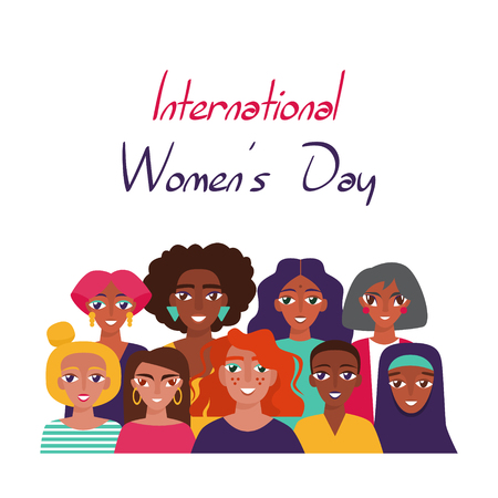 International Women's Day. Card, poster or banner with devierse group of women Vettoriali