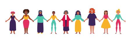Diverso gruppo di donne che si tengono per mano. Illustrazione vettoriale di stile piatto