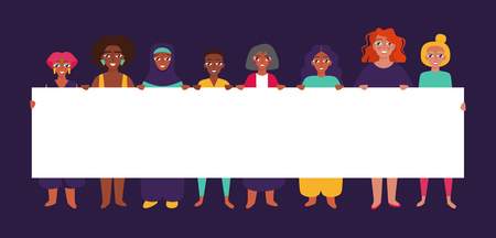 Diverse group of women holding banner. Flat style vector illustration