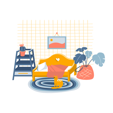 Cute flat style vector illustration of a nice decorated bedroom. Interior concept
