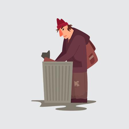 Dakloze persoon vector teken geïsoleerd. Illustratie in vlakke stijl