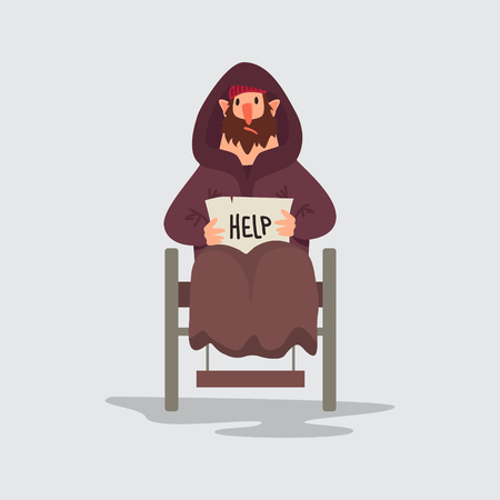 Homeless person vector character isolated. Flat style illustration