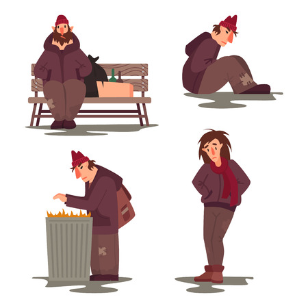 Homeless people vector characters set. Flat style illustration
