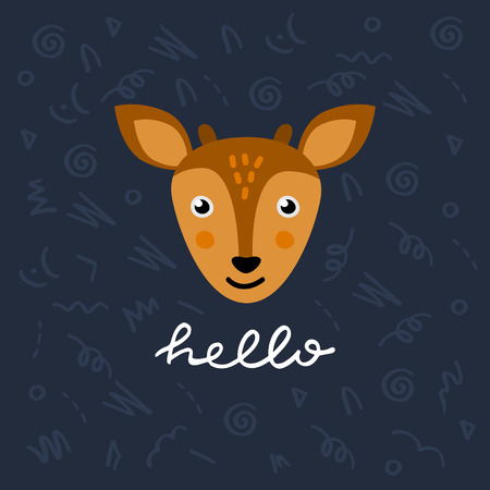 Cute card template with vector deer character saying Hello