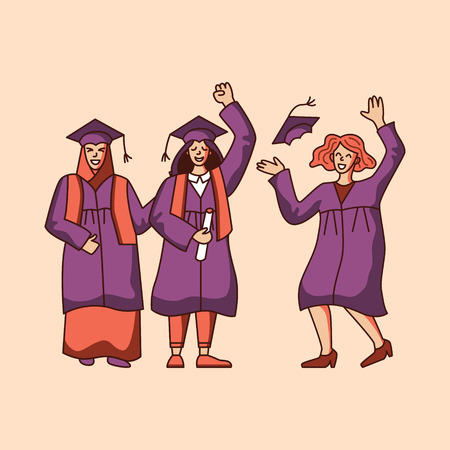 Group of female students celebrating graduation. Flat atyle vector illustration