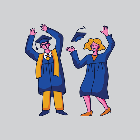 Male and female student characters in graduation gowns. Flat style vector illustration