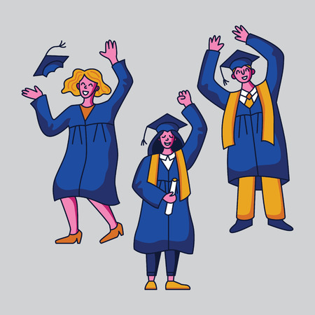 Group of happy students in graduation gowns. Flat style vector character design Illustration