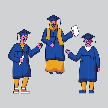 Group of happy students in graduation gowns. Flat style vector character design Ilustrace