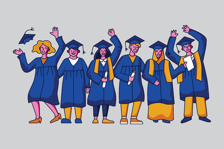 Diverse group of students in graduation gowns. Flat style vector character design