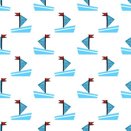 Seamless vector pattern with hand drawn boat