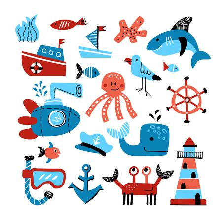 Vector set of marine theme objects. Hand drawn illustation of sea life