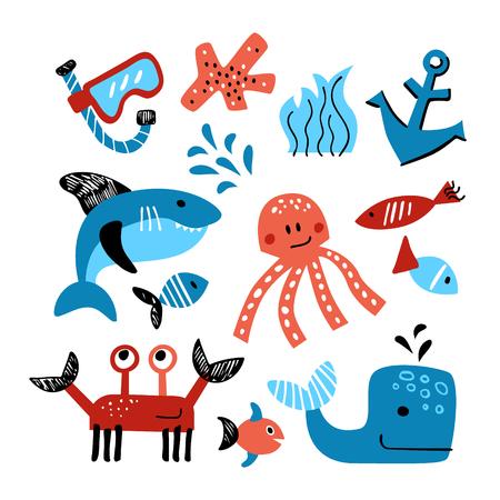 Vector conjunto de objetos temáticos marinos. Ilustración dibujada a mano de la vida marina. Ilustración de vector