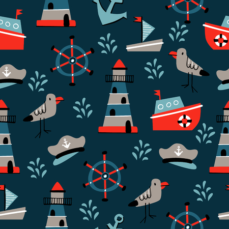 Seamless vector pattern with hand drawn elements of sea life Ilustrace