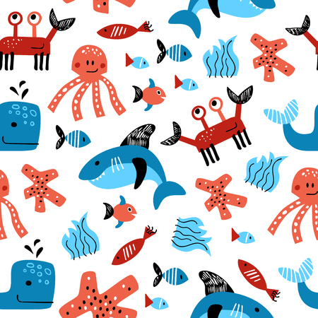 Seamless vector pattern with hand drawn elements of sea life Ilustração