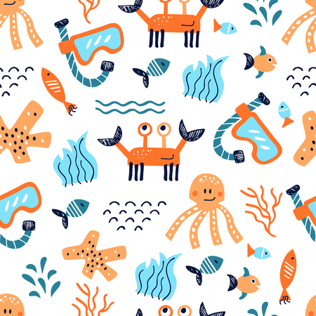 Seamless vector pattern with hand drawn elements of sea life Illustration