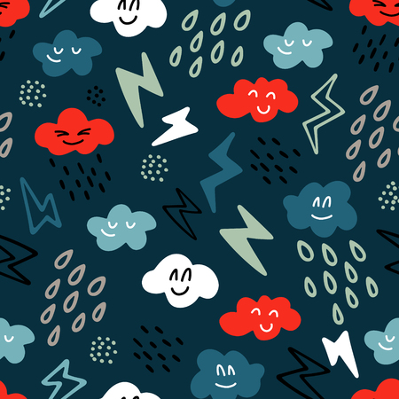 Seamless vector pattern with hand drawn clouds, raindrops and lightning