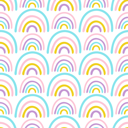 Seamless vector pattern with abstract hand drawn rainbows