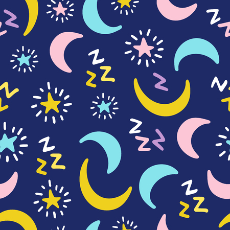 Seamless vector pattern of a night sky with hand drawn stars and moon Ilustrace