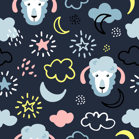 Seamless vector pattern of a night sky with hand drawn sheeps, stars and moon Illustration