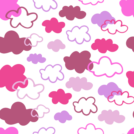Seamless vector pattern with hand drawn clouds Ilustrace
