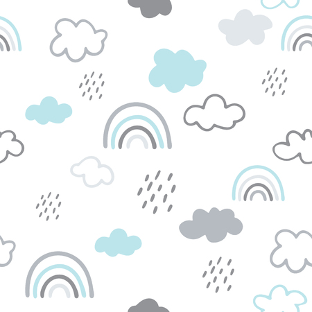 Seamless vector pattern with hand drawn clouds and rainbows Ilustrace