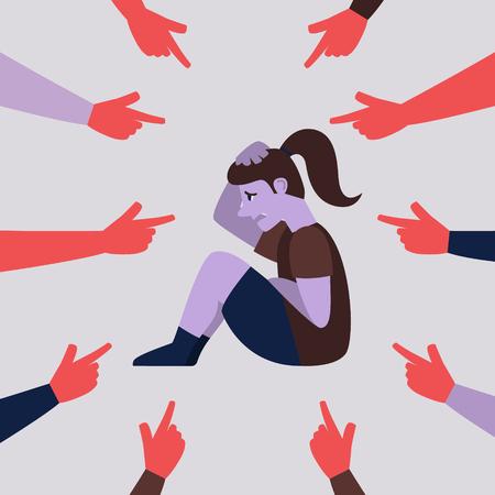 A kid being bullied. Flat style vector illustration Stock Illustratie