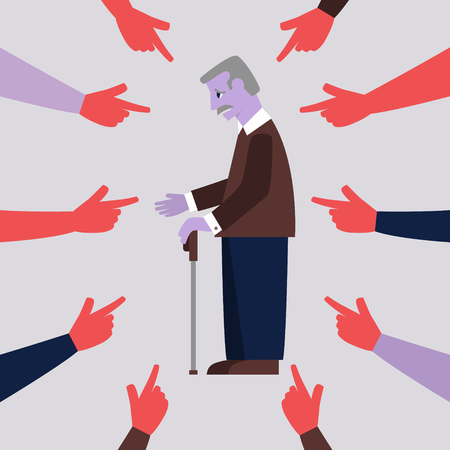 Elderly person being bullied. Flat style vector illustration