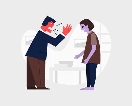 Agressive man yelling at; a sad woman. Abusive relationship vector illustration