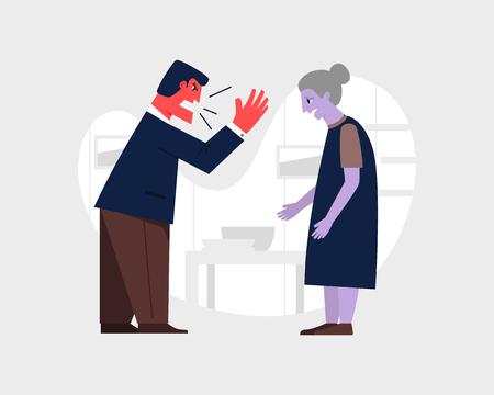 Hombre enojado gritando; una anciana triste. Ilustración de vector de relación abusiva. Concepto de agresión y violencia familiar. Ilustración de vector