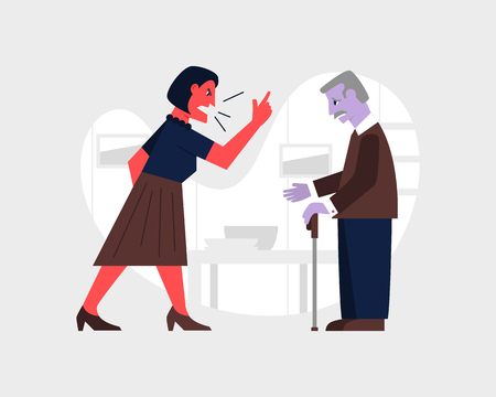 Angry woman yelling at a sad old man. Abusive relationship vector illustration. Family violence and aggression concept. 일러스트