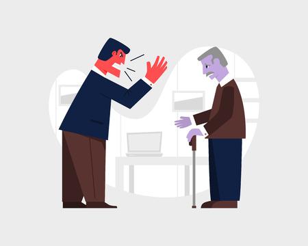 Uomo arrabbiato che urla a un vecchio triste. Illustrazione vettoriale di relazione abusiva. Violenza familiare e concetto di aggressione.