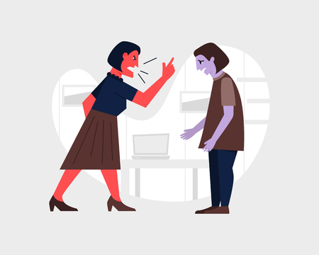Agressive female boss yelling at yonger emplyee. Abusive relationship and bullying at work. Flat style vector illustration Illustration