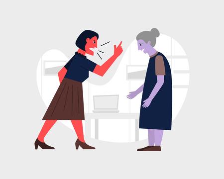 Mujer enojada gritándole a su anciana madre. Ilustración de vector de relación abusiva. Concepto de agresión y violencia familiar. Ilustración de vector