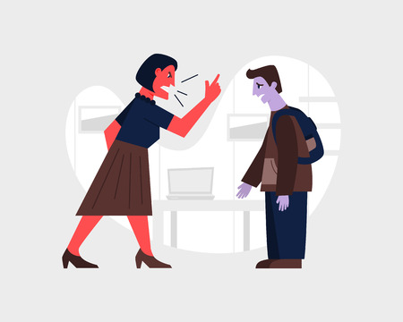 Agressive woman yelling at a scared teenage boy. Abusive relationship vector illustration. Family violence and aggression concept. Mother screaming at son