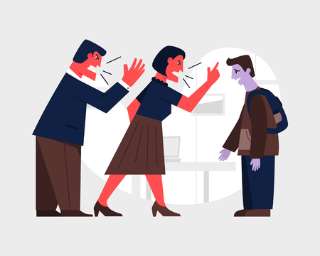 Parents yelling at a sad teenage boy. Family violence concept. Abusive relationship vector illustration