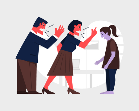 Parents yelling at a sad teenage girl. Family violence concept. Abusive relationship vector illustration