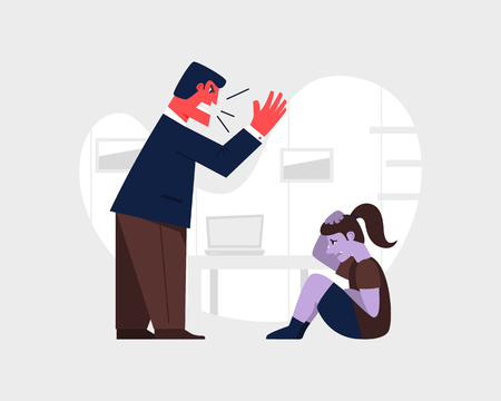 Angry man yelling and at a scared child. Abusive relationship vector illustration. Family violence and aggression concept. Father screaming at little daughter