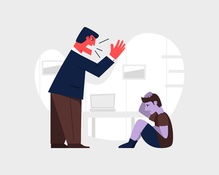 Angry man yelling and at a scared child. Abusive relationship vector illustration. Family violence and aggression concept. Father screaming at little son