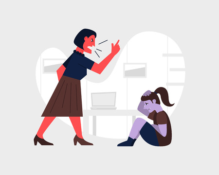 Angry woman yelling and at a scared child. Abusive relationship vector illustration. Family violence and aggression concept. Mother screaming at little daughter