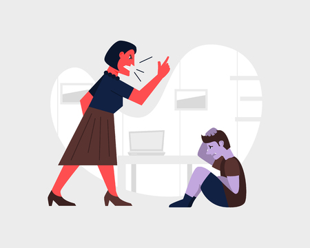 Angry woman yelling and at a scared child. Abusive relationship vector illustration. Family violence and aggression concept. Mother screaming at little son