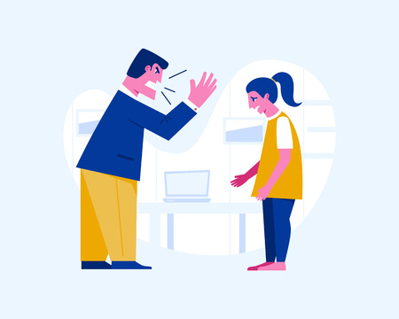 Agressive man yelling at a scared teenage girl. Abusive relationship vector illustration. Family violence and aggression concept. Father screaming at daughter Illustration