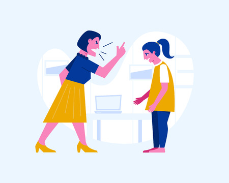 Agressive woman yelling at a scared teenage girl. Abusive relationship vector illustration. Family violence and aggression concept. Mother screaming at daughter Ilustrace
