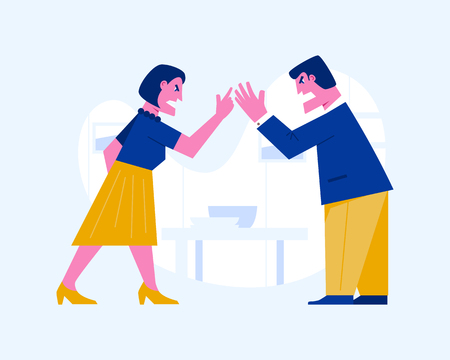 Angry man and woman yelling at each other. Couple fighting. Violence and agression concept Illustration