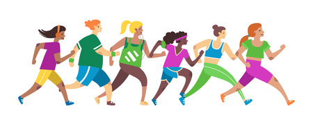Jogging women. Female runners group in motion. Running girls characters. Flat style vector illustration
